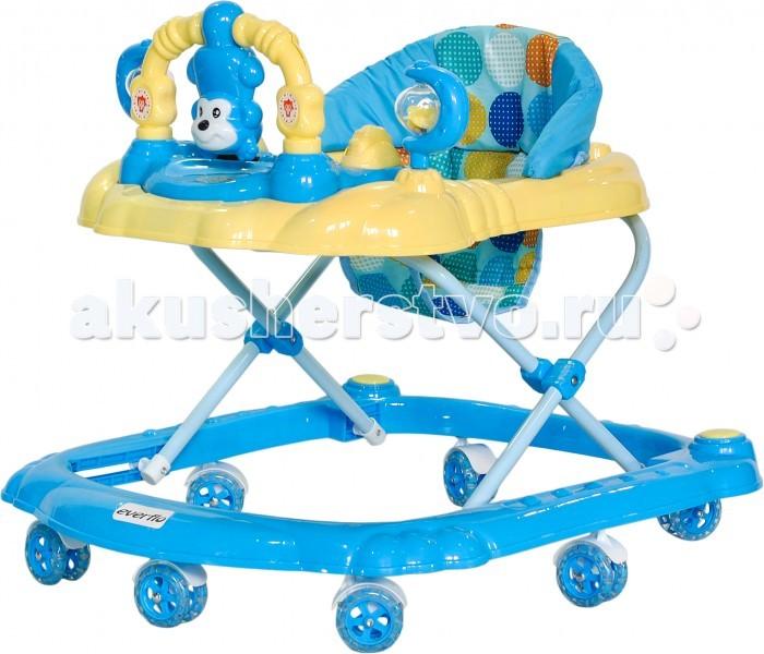 Ходунки Everflo W407W407Everflo Ходунки W407  Ходунки подходят для детишек, умеющие сидеть без посторонней помощи (от 6 месяцев и старше) и до веса 12 кг. С помощью ходунков, ребенок научится быстро отталкиваться ногами от пола и вскоре начнет быстро передвигаться по дому или квартире.  7 сдвоенных свободно вращающихся силиконовых колес                                 Регулировка высоты                                                Съемная игровая панель                                                       Музыкальные кнопки, погремушки                                                    Сидение с высокой мягкой спинкой из моющегося материала.  Допускается стирка при t30C  Размер: 70 x 60 x 5 см<br>