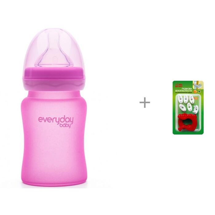 Купить Бутылочки, Бутылочка Everyday Baby Стеклянная 150 мл с индикатором температуры и блокирующие устройства Baby Safety