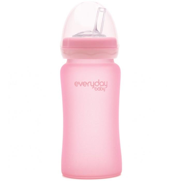 Поильник Everyday Baby Стеклянная бутылочка с трубочкой с защитным силиконовым покрытием 240 мл фото