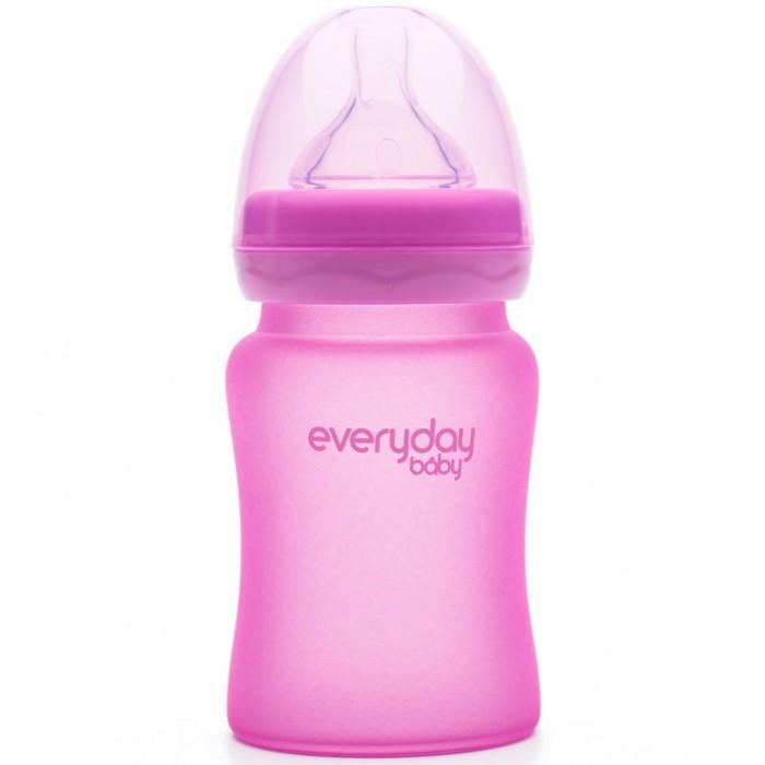 Купить Бутылочки, Бутылочка Everyday Baby Стеклянная с индикатором температуры и защитным силиконовым покрытием 150 мл