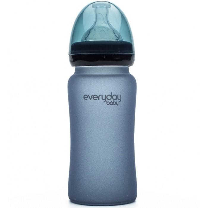 Бутылочка Everyday Baby Стеклянная с индикатором температуры и защитным силиконовым покрытием 240 мл