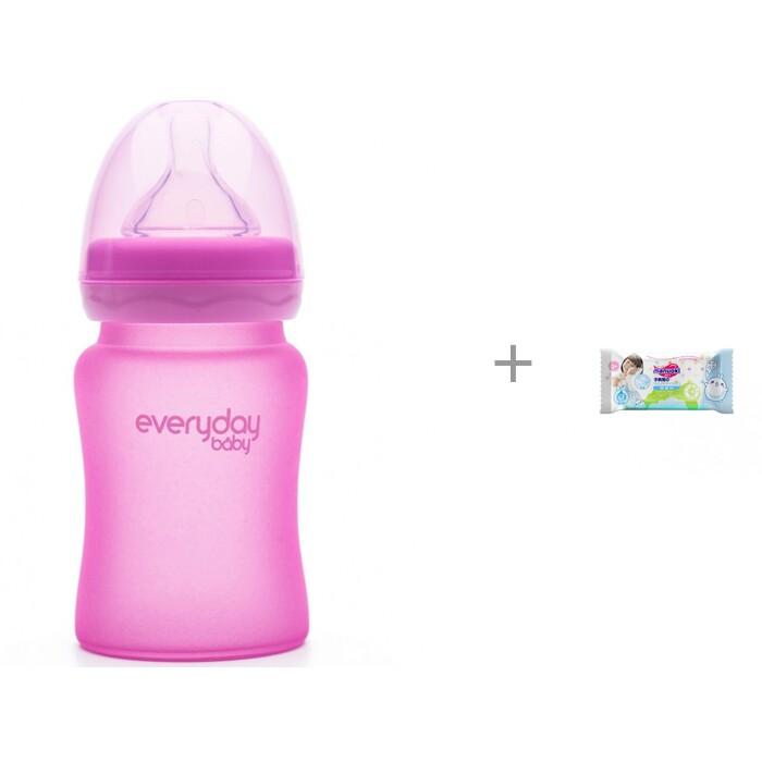 Купить Бутылочки, Бутылочка Everyday Baby Стеклянная с индикатором температуры 150 мл и влажные салфетки L 20 шт.