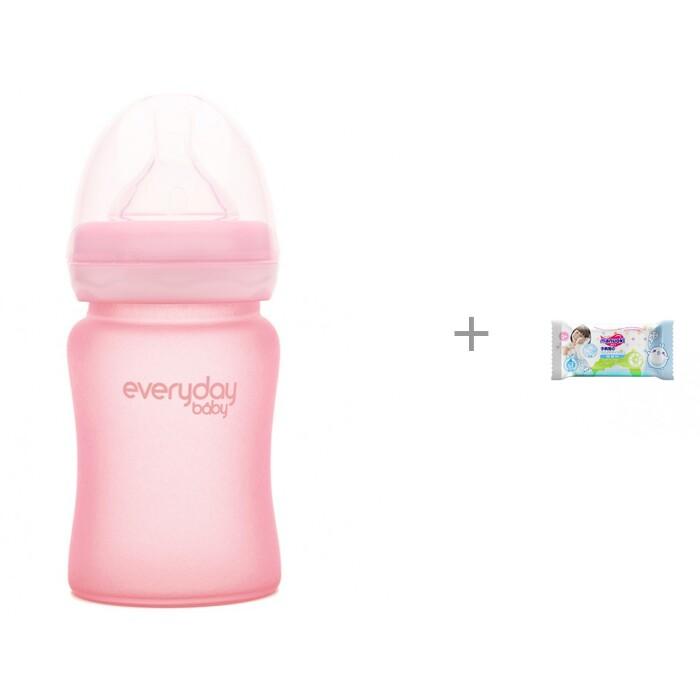 Купить Бутылочки, Бутылочка Everyday Baby Стеклянная с силиконовым покрытием 150 мл и салфетки L 20 шт. Manuoki