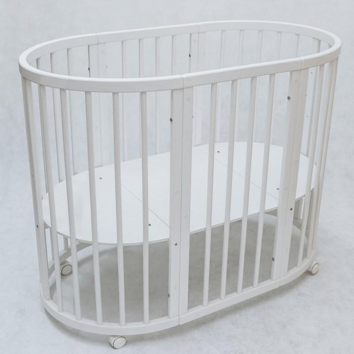 Кроватка-трансформер Evoland 8 в 18 в 1Кроватка-трансформер Evoland 8 в 1 - это детская кроватка, которая растет вместе с ребенком, сопровождая его с момента рождения, до, приблизительно, 5-летнего возраста. Размеры кроватки увеличиваются, в соответствие с потребностями растущего ребенка, при этом сохраняя узнаваемость характерной овальной формы.  Особенности:                                                                                                         Благодаря современным технологиям, дуги кровати выполнены по технологии гнутоклееного производства Кровать состоит из двух цельных полуцилиндров, в то время как у других производителей каркас изделия состоит из четвертинок круга, скреплённых между собой Материал: натуральный бук - качественный и прочный материал.  Кроватка-трансформер 8 в 1 Evoland благодаря своим размерам, без труда проходит через дверные проемы и делает ее мобильной Технология гнутоклеенного производства позволяет добиться большей прочности и надежности каркаса кровати, а также эстетичного внешнего вида изделия. Овальная кроватка-трансформер Evoland имеет 8 трансформаций: Уютная люлька Пеленальный стол Стандартная овальная кровать  Приставная кроватка Манеж Диванчик для подросшего малыша Столик  Два стульчика. Размеры: Размер люльки: габаритный размер 70х80 см, размер спального ложа 64х74 см Размер овальной кровати: габаритный размер 70х128 см, размер спального ложа 64х120 см Высота кровати: 74,5 см без колес, 80 см с колесами Высота спального дна: изделие имеет 4 уровня спального дна (9,5 см; 21 см; 33,5 см; 45 см от пола) Расстояние между шкантами: 6,5 см.<br>