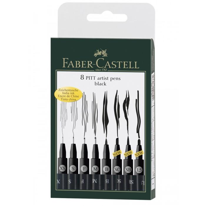 Развитие и школа , Канцелярия Faber-Castell Капиллярные ручки в футляре Pitt Artist Pen 8 шт. арт: 368763 -  Канцелярия