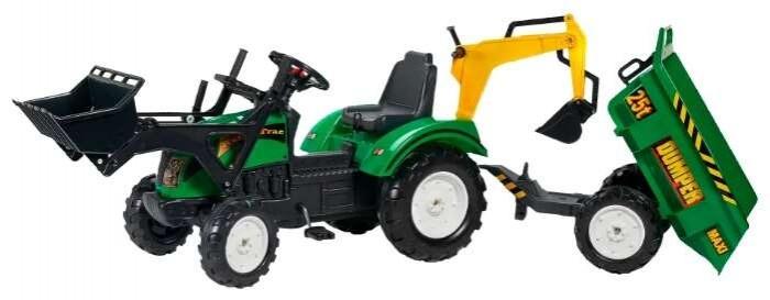Детский транспорт , Педальные машины Falk Трактор-экскаватор педальный с прицепом 219 см арт: 390299 -  Педальные машины