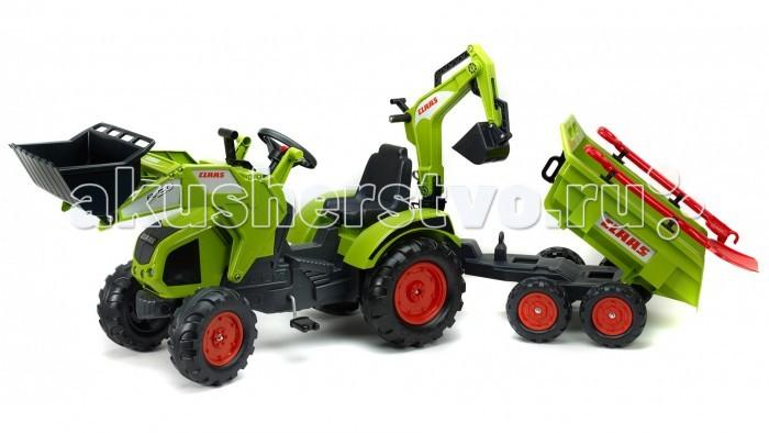 Детский транспорт , Педальные машины Falk Трактор-экскаватор педальный с прицепом 230 см арт: 390199 -  Педальные машины