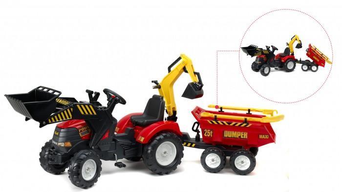 Falk Трактор-экскаватор педальный с прицепомТрактор-экскаватор педальный с прицепомFalk Трактор-экскаватор педальный с прицепом 225 см - отличная яркая машина для маленьких водителей. Такая машина обязательно понравится Вашему ребенку. С такой машиной не будет скучно на прогулке.   Особенности: трактор-экскаватор выполнен из высококачественных материалов  приводится в движение с помощью педалей, посредством цепного привода  полнофункциональный и простой в управлении передний ковш (можно поднимать и опускать)  задний ковш съемный  оба ковша управляются специальными ручками  сиденье регулируется под рост ребенка  так же сиденье поворачивается на 180 градусов  трактор имеет 4 устойчивых колеса  колеса имеют протекторы  колеса выполнены из прочного пластика и позволяют передвигаться не только по асфальтовым дорожкам, но и по грунтовым дорогам и песчаным насыпям  руль и колеса легко поворачиваются  в руль встроен гудок  максимальный вес ребенка: 50 кг в комплект входит: ковш, ковш-экскаватор, прицеп, грабли, лопата и инструкция.<br>