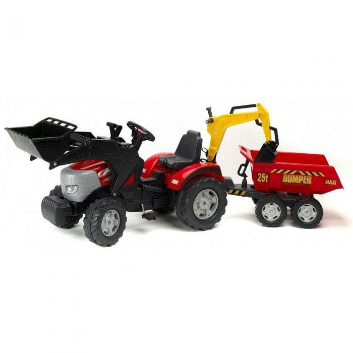 Детский транспорт , Педальные машины Falk Трактор-экскаватор с прицепом и ковшом 1030W арт: 27839 -  Педальные машины