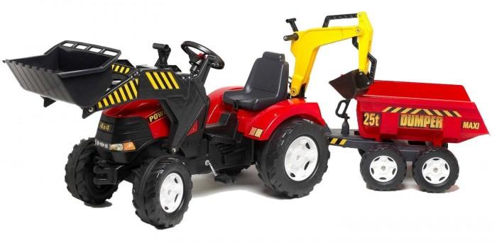 Детский транспорт , Педальные машины Falk Трактор-экскаватор с прицепом и ковшом 995W арт: 27840 -  Педальные машины