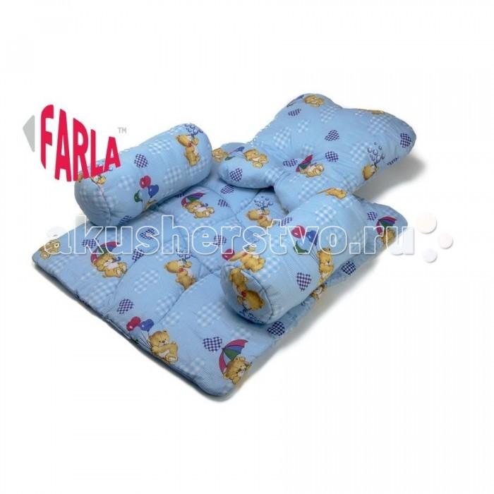 Farla Подушка для новорожденного PadПодушка для новорожденного PadНе секрет, что первые месяцы жизни малыши проводят большую часть времени во сне. Комплект Farla Pad специально разработан для безопасного сна новорожденного. Позиционер Farla Pad не позволяет малышу перевернуться, что очень важно для его безопасности.  Комплект состоит из коврика и трёх подушек. Боковые подушки-валики надёжно крепятся к коврику на липучки. Первое кресло для вашего малыша позволит снизить вероятность травм, надежно фиксируя голову и тело. Такой комплект можно использовать как в колыбельке, так и на родительской кровати.   Размеры: Коврик - 77х67х1.5 см Валики - 36х15 см Подушечка - 48х45х8 см   Материал: 100% Хлопок Наполнитель 100% Полиэфир<br>