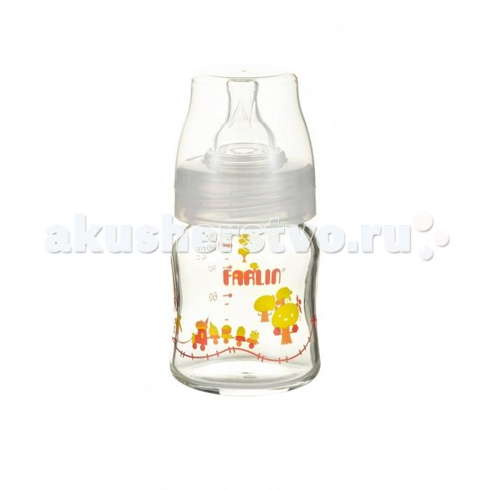 Бутылочки Farlin Стеклянная для кормления с широким горлышком 120 мл бутылочки canpol pp easystart с широким горлышком антиколиковая 120 мл 0 newborn baby