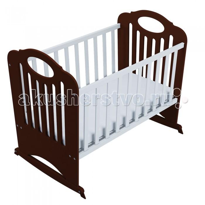 Детская кроватка Феалта-baby Сказка (поперечный маятник)Сказка (поперечный маятник)Феалта-baby Кроватка-качалка Сказка (поперечный маятник) выполнена из натуральных материалов (массив бука, фанера, МДФ).   Предназначена кроватка для новорожденных. Феалта-baby Сказка снабжена системой поперечного качания, которая при необходимости может быть заблокирована стопорами. Дно кроватки реечное, отлично вентилируется, благодаря чему длительное время сохраняются ортопедические свойства матрасов, кроме того, высота дна регулируется. Спинки и бортики этой кроватки оснащены вертикальными прорезями для лучшей циркуляции воздуха.                               Размеры спального ложа кроватки: 120 х 60 см Высота спального ложа от пола имеет два уровня: 24 см и 44 см<br>