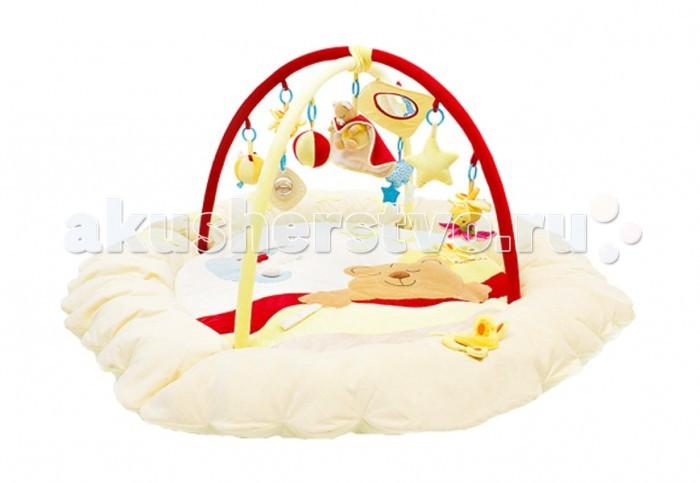 Развивающий коврик Felice Сонный мишка с бортамиСонный мишка с бортамиИгровой развивающий коврик с мягкими бортами Сонный мишка Felice для детей от 0 до 12 месяцев, сделан из мягкой ткани - велюр.   Коврик развивает восприятие цветов, форм, фактур, размеров, звуков.   В комплект коврика входят 2 игровые дуги с разными подвесными игрушками, есть зеркало. Игрушки гремят, пищат, шуршат, хорошо развивают хватательный рефлекс, их можно заменять любыми подвесками.   Дуги съемные. Коврик компактно складывается, удобен в хранении и транспортировке. Легко стирается.   Размеры коврика 140х140х50 см.<br>