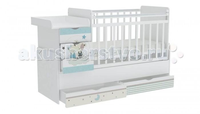 Кроватка-трансформер Фея 1150 Лучшие друзья1150 Лучшие друзьяФея Кроватка-трансформер 1150 Лучшие друзья для новорожденных оснащена ортопедическим ложем, что очень важно для правильного развития малыша.  Ложе кроватки можно устанавливать в 3-х положениях по высоте: чтобы маме было удобно поднимать и класть в кроватку новорожденного ложе устанавливается в самое верхнее положение. Когда малыш научится переворачиваться и садиться ложе следует опускать ниже.  При этом мама сможет опустить бортик, если будет укладывать или поднимать малыша.   Данная модель трансформера соответствует всем нормам безопасности. Каждая кроватка оборудована пластиковыми накладками на бортики, чтобы Ваш ребенок не испортил зубки. В комплект входит независимый комод с 3 ящиками и пеленальный столик. Эта кровать - оснащена механизмом качания (маятник поперечного качания),что позволит убаюкать малыша в считанные минуты.  Преимущества: кроватка трансформируется в подростковую кровать и независимую приставную тумбу 5 вместительных выдвижных ящиков для одежды и игрушек УШКО - механизм опускания планки ортопедическое основание широкая поверхность для пеленания маятниковый механизм поперечного качания накладки ПВХ для детей от 0 до 12 лет МДФ фасады с рисунком. Габариты: Размер кроватки (ВхДхШ) – 110 х 173.2 х 65.6 см Размер детского ложа – 60 х 120 см Размер подросткового ложа – 60 х 170 см<br>