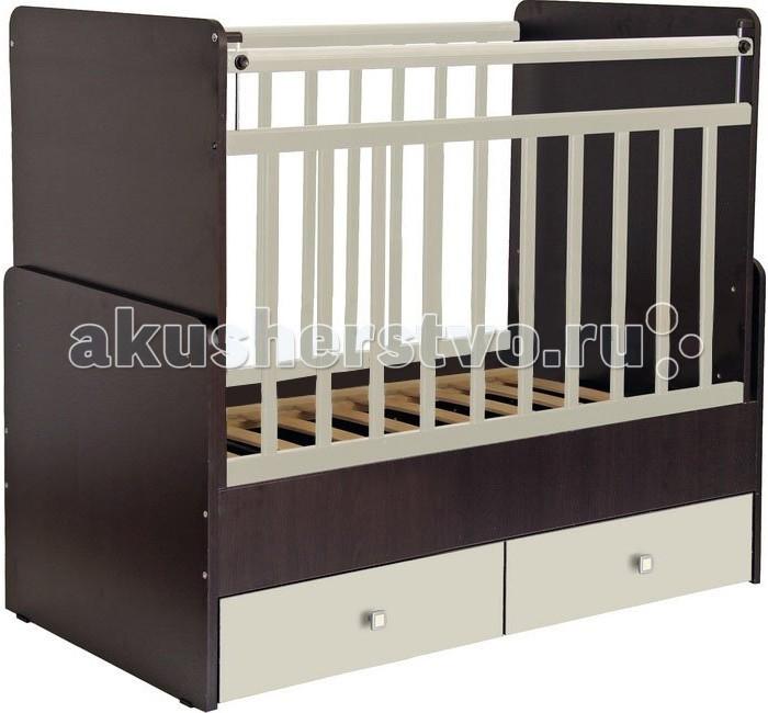 Кроватка-трансформер Фея 720720Кроватка-трансформер Фея 720 из экологически чистых материалов и покрыта безопасным лаком.   Кроватки-трансформеры имеют большой диапазон расцветок и подойдут, в первую очередь, для квартир с небольшой площадью.  В целях безопасности у кроватки отсутствуют острые углы, а безопасная высота боковины не позволит вашему ребенку самостоятельно вылезти из детской кроватки. При этом мама сможет опустить бортик для удобства, если будет укладывать или поднимать малыша. Когда малыш подрастет, можно закрепить боковину в нижнем положении, чтобы ребенок мог сам забираться в кроватку.  Эта уникальная модель кроватки трансформируется в: кровать для младенца кровать для детей от 3 до 5 лет. Преимущества: 2 вместительных выдвижных ящика для одежды и игрушек УШКО - механизм опускания планки ортопедическое основание маятниковый механизм поперечного качания накладки ПВХ Массив березы не рассыхается, каждая кроватка оборудована пластиковыми накладками на бортики, чтобы Ваш ребенок не испортил зубки.  Эта кровать - оснащена механизмом качания (маятник поперечного качания). Этот механизм позволяет убаюкивать малыша в считанные минуты.   Габариты и вес: Размер (ДхШхВ) – 131.6 х 66 х 110.7 см Размер ложа – 60 х 120 см<br>