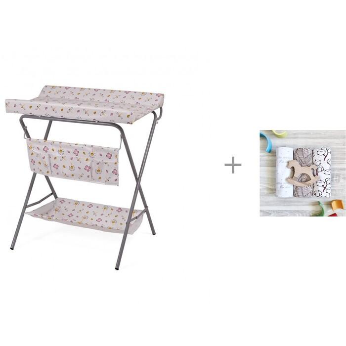 Пеленальный столик Фея Стрекозы с пеленками Mjolk Хлопок/Palm Tree/Hello mommy