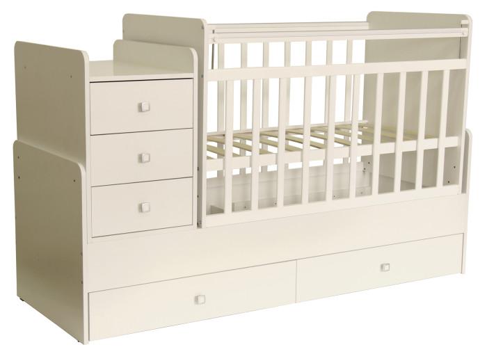 Кроватка-трансформер Фея 11001100Удобная трансформация в кровать для подростка, когда ребенок вырастет из простой кроватки.   Кроватка детская - трансформер Фея 1100 вяз-белый с пеленальным комодом и механизмом качания. Кроватки-трансформеры имеют большой диапазон расцветок и подойдут, в первую очередь, для квартир с небольшой площадью. Под кроваткой 2 выдвижных ящика, позволяющих удобно разместить вещи и игрушки малыша на небольшом пространстве.  Кроватка-трансформер Фея для новорожденных оснащена ортопедическим ложем, что очень важно для правильного развития малыша. Чтобы маме было удобно поднимать и класть в кроватку новорожденного ложе устанавливается в самое верхнее положение.   Когда малыш научится переворачиваться и садиться ложе следует опустить в среднее положение. При этом мама сможет опустить бортик, если будет укладывать или поднимать малыша. Данная модель в отличие от кроватки-трансформера 1200 не имеет острых углов,  что делает ее абсолютно безопасной для ребенка.  Особенности: сбоку расположен комод с местом для пеленания малыша; защитные бортики на комоде; три ящика с красивыми и эргономичными ручками; при изготовлении применяется массив березы + ЛДСП боковая перекладина опускается для легкого доступа к ребенку; маятник с механизмом поперечного качания; два положения уровня реечного дна; внизу кроватки два ящика; Матраса нет в комплекте!  В комплект входит независимый комод с 3 ящиками и пеленальный столик. Эта кровать - оснащена механизмом качания ( маятник поперечного качания), что позволит убаюкать малыша в считанные минуты.<br>