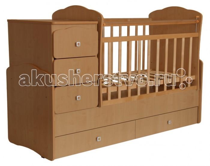 Кроватка-трансформер Фея 21002100Кроватка-трансформер Фея 2100   Удобная трансформация в кровать для подростка, когда ребенок вырастет из простой кроватки.  Кроватка Фея 2100 белый с комодом сделана из экологически чистых материалов и покрыта безопасным лаком. Трансформеры 2100 имеют большой диапазон расцветок и подойдут, в первую очередь, для квартир с небольшой площадью, она очень компактна и функциональна. Кроватка Фея 2100 белый для новорожденных оснащена ортопедическим ложем, что очень важно для правильного развития малыша.   Положение ложа вы можете менять самостоятельно. Чтобы маме было удобно поднимать и класть в кроватку новорожденного ложе устанавливается в самое верхнее положение. Когда малыш научиться переворачиваться и садиться ложе следует опустить в среднее положение. Безопасная высота боковины не позволит вашему ребенку самостоятельно вылезти из детской кроватки. При этом мама сможет опустить бортик для удобства, если будет укладывать или поднимать малыша.  Преимущества: кроватка трансформируется в подростковую кровать и независимую приставную тумбу, 5 вместительных выдвижных ящиков для одежды и игрушек (2 ящика в кровати, 3 в тумбе), Ушко - механизм опускания планки, ортопедическое основание, удобная поверхность для пеленания, маятниковый механизм поперечного качания, накладки ПВХ, эту кроватку мы рекомендуем использовать с 0 до 15 лет.  Кровать - оснащена механизмом качания (маятник поперечного качания), что позволит убаюкать малыша в считанные минуты. Массив березы не рассыхается, каждая кроватка оборудована пластиковыми накладками на бортики, чтобы Ваш ребенок не испортил зубки.   Особенности: детская кроватка сделана в отличном стиле и даже при трансформации не теряет своей привлекательности. дно из реек можно переставлять в двух уровнях по высоте; экологически чистая древесина березы входит в основу кроватки; боковая перекладина опускается; комод для пеленания ребенка с тремя ящиками; под кроваткой два ящика; есть накладки из силикона; удобные 