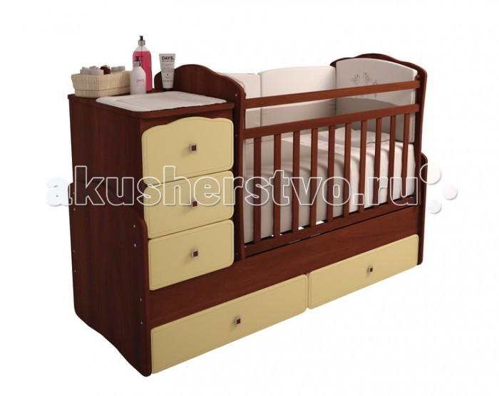 Кроватка-трансформер Фея 21502150Кроватка-трансформер Фея 2150  Удобная трансформация в кровать для подростка, когда ребенок вырастет из простой кроватки.  Кроватка Фея 2150 венге-бежевый Жирафик сделана из экологически чистых материалов и покрыта безопасным лаком. Трансформеры 2150 имеют большой диапазон расцветок и подойдут, в первую очередь, для квартир с небольшой площадью, она очень компактна и функциональна. Кроватка для новорожденных оснащена ортопедическим ложем, что очень важно для правильного развития малыша. Положение ложа вы можете менять самостоятельно. Чтобы маме было удобно поднимать и класть в кроватку новорожденного ложе устанавливается в самое верхнее положение. Когда малыш научится переворачиваться и садиться ложе следует опустить в среднее положение. Безопасная высота боковины не позволит вашему ребенку самостоятельно вылезти из детской кроватки. В отличие от модели 2100 эта кроватка-трансформер изготовлена из такого материала как МДФ- это абсолютно безвредный и экологически чистый материал, прочнее дерева.  Преимущества: кроватка трансформируется в подростковую кровать и независимую приставную тумбу, 5 вместительных выдвижных ящиков для одежды и игрушек (2 ящика в кровати, 3 в тумбе), Ушко - механизм опускания планки, ортопедическое основание, удобная поверхность для пеленания, маятниковый механизм поперечного качания, накладки ПВХ, фасады МДФ с фрезеровкой, эту кроватку мы рекомендуем использовать с 0 до 15 лет.  Кровать - оснащена механизмом качания ( маятник поперечного качания), что позволит убаюкать малыша в считанные минуты. Данная модель стоит недорого, но соответствует всем нормам безопасности. Массив березы не рассыхается, каждая кроватка оборудована пластиковыми накладками на бортики, чтобы Ваш ребенок не испортил зубки.   Особенности: в начале это детская кроватка в дальнейшем используется как подростковая кровать; компактный комод с тремя выдвигающимися ящиками; внизу кроватки два больших ящика для детских вещей; боковая перекладина 