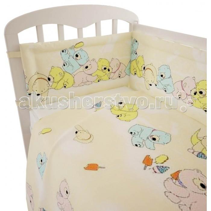 Комплект в кроватку Фея Мишки (6 предметов)Мишки (6 предметов)Нежный комплект постельного белья в кроватку Фея Мишки из 6 предметов, украшенный изображениями милых медвежат, станет настоящим украшением любой детской и подарит малышу много сладких снов.   Белье выполнено из 100% хлопка, наполнитель — холлофайбер.  Комплектация: Борт: 185х35 см Подушка: 40х60 см Одеяло: 110х140 см Наволочка: 40х60 см Простыня: 100х160 см Пододеяльник: 110х140 см<br>