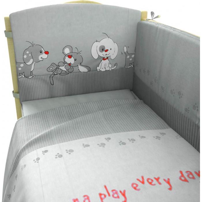 Комплект в кроватку Фея Веселая игра 140х70 (7 предметов)Веселая игра 140х70 (7 предметов)Нежный комплект постельного белья в кроватку Фея Веселая игра из 7 предметов, украшенный изображениями милых собачек, станет настоящим украшением любой детской и подарит малышу много сладких снов.   Белье выполнено из 100% хлопка, наполнитель — холлофайбер.  Комплектация: Борт: 420х43 см Штора балдахина: 180х400 см, вуаль Подушка: 40х60 см Одеяло: 110х140 см Наволочка: 40х60 см Простыня: 110х180 см Пододеяльник: 110х140 см<br>