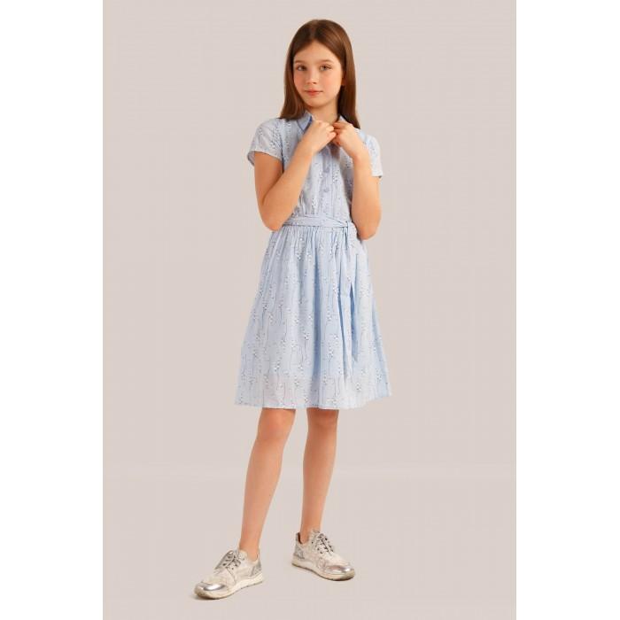 Finn Flare Kids Платье для девочки KS19-71019Детские платья и сарафаны<br>Finn Flare Kids Платье для девочки KS19-71019  В гардеробе юной леди неизменной составляющей является платье. Легкое и красивое платье для девочки Finn Flare Kids станет отличным дополнением к гардеробу маленькой модницы. Изготовленное из высококачественного хлопка, оно мягкое и приятное на ощупь, не сковывает движения и хорошо пропускает воздух. Платье с круглым вырезом горловины, на талии удерживается с помощью пояса. Изделие оформлено принтом. В таком платье маленькая принцесса всегда будет в центре внимания!  Состав: 100% хлопок  Уход: Машинная стирка в щадящем режиме при максимальной температуре 30°C.  Финский бренд Finn Flare предлагает широкий ассортимент качественной продукции. Модные брендовые вещи являются уникальным предложением для тех, кто предпочитает комфорт и обладает хорошим вкусом. Финская компания уже более полувека создает оригинальные и стильные линейки одежды, обуви и аксессуаров.