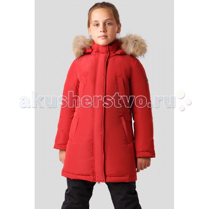 Finn Flare Kids Полупальто для девочки KA18-71016Куртки, пальто, пуховики<br>Finn Flare Kids Полупальто для девочки KA18-71016 прямого покроя с карманами, капюшон съёмный  Основной материал: 100% полиэстер Подкладка: 100% полиэстер Утеплитель: 90/10 пух/перо мех: енот натуральный  Уход: Машинная стирка в щадящем режиме при максимальной температуре 30°C.