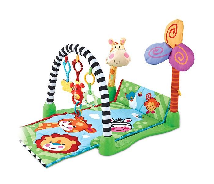 Развивающий коврик FunKids Kick &amp; Crawl GymKick &amp; Crawl GymFunKids Развивающий игровой коврик для новорожденного Kick & Crawl Gym - создаст уютный уголок для игр вашего малыша, который поможет ему развиваться и познавать мир. Ковриком вы будете пользоваться с момента рождения до полутора лет.  Мягкий развивающий коврик станет для маленького человечка превосходным развлечением и поможет ему быстрее осваивать различные умения и навыки. Сочетание ткани различной фактуры (обычная, ворсистая, атласная) тренирует сенсо-моторику, а яркие цвета и забавные орнаменты радуют глаз.  На дугу с надежным и безопасным креплением можно подвесить до 3-х игрушек (не обязательно только те, которые входят в комплект), хватая и рассматривая которые ребенок будет тренировать глазомер и точность движений. Игрушка изготовлена из высококачественных, абсолютно безопасных, гипоаллергенных материалов.  Мягкие части коврика можно стирать в машине и сушить на воздухе. Пластиковые части - протирать влажной тканью.  Рисунки на ковриках и формы игрушек могут незначительно отличаться от представленных на фотографиях.  Размеры коврика Kick & Crawl Gym: - Длина - 86 см - Ширина - 46 см - Высота игровой дуги - 45 см<br>