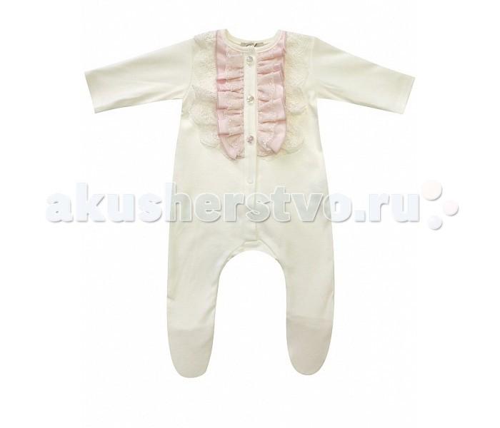 Детская одежда , Комбинезоны и полукомбинезоны Fleole Комбинезон для девочки с жабо арт: 361818 -  Комбинезоны и полукомбинезоны