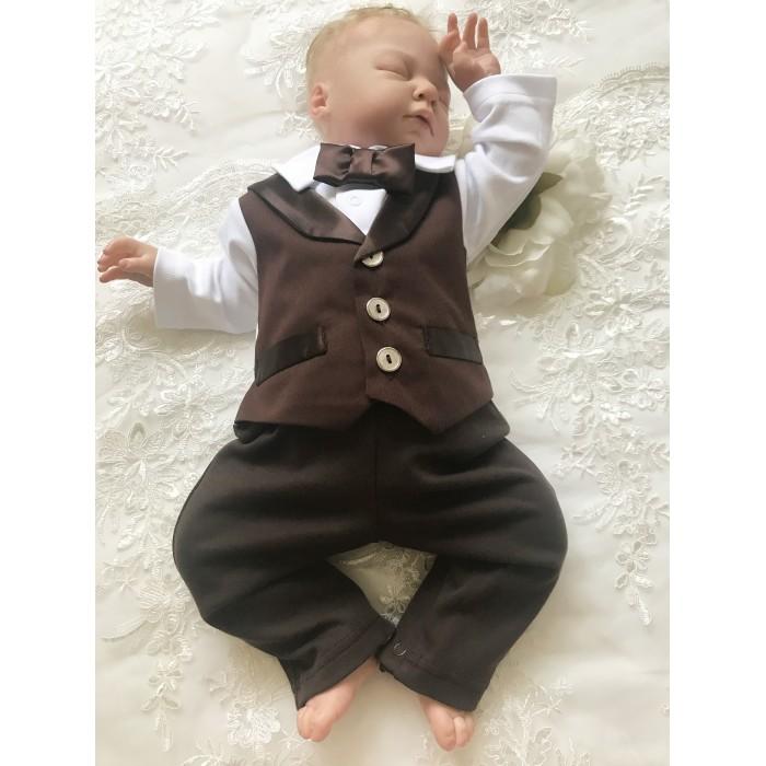 Детская одежда , Комбинезоны и полукомбинезоны Fleole Комбинезон с открытыми ножками для мальчика Джентельмен арт: 450389 -  Комбинезоны и полукомбинезоны