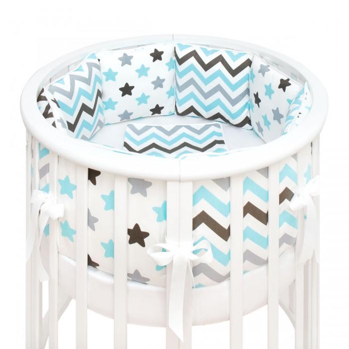 Купить Комплекты в кроватку, Комплект в кроватку Fluffymoon Blue Sky в круглую бортики-подушки (5 предметов)