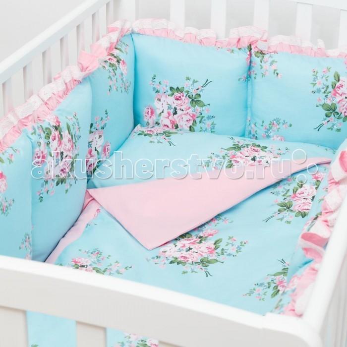Комплект в кроватку Fluffymoon  Camellia (4 предмета)Camellia (4 предмета)Комплект в кроватку Fluffymoon Camellia (4 предмета) свесь текстиль быстро и удобно снимается, постельные принадлежности выдерживают большое количество стирок, что так важно для современных мам и их малышей.  Хлопок абсолютно гипоаллергенен и безопасен для малыша и позволяет нежной коже дышать, прекрасно впитывая влагу.      Состав комплекта: Защитные бортики-подушки на весь периметр кроватки. Бортик состоит из 12 двусторонних подушек. Размер каждой подушки - 28 x 28 см. Каждая подушка имеет съемный чехол. Наволочка 62 x 32 см Пододеяльник 132 x 102 см Простыня на резинке для матраса 120 x 60 см Ткань: перкаль (100% хлопок)       Наполнитель: холлофайбер     Перкаль - это высококачественная хлопковая ткань, отличающаяся большой плотностью переплетения нитей, что придает ткани практичность, износостойкость и долговечность. Хлопок абсолютно гипоаллергенен и безопасен для малыша и позволяет нежной коже дышать, прекрасно впитывая влагу.  Холлофайбер - безопасный и гипоаллергенный материал, не крошится, не дает усадки, воздухопроницаемый, долговечный.<br>