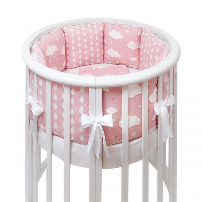Бортики в кроватку Fluffymoon Gentle Clouds в круглую и овальную подушки honeymammy бортики подушки в кроватку clouds