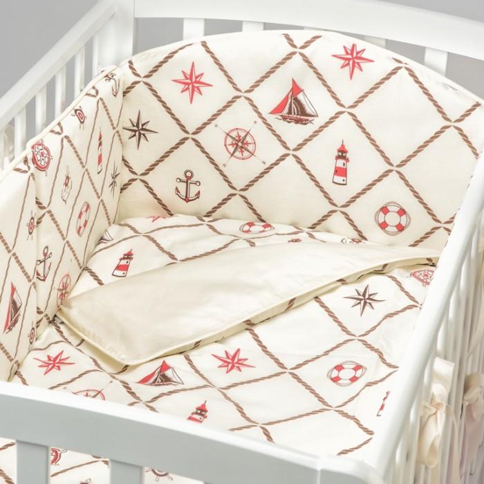 Бортик в кроватку Fluffymoon  Sea Journey №6 120x60 смБортики в кроватку<br>Бортик в кроватку Fluffymoon Sea Journey №6 120x60 см на весь периметр кроватки со спальным местом 120 x 60 см.    Бортик состоит из 4-х частей. Каждая часть имеет съемный чехол, что делает бортик  удобным для стирки. Высота бортика 30 см.  Ткань: перкаль (100% хлопок) Наполнитель: холлофайбер  Перкаль - это хлопковая ткань высочайшего качества. Отличается мягкой, бархатистой поверхностью. Отлично пропускает воздух, впитывает влагу, не вызывает аллергии. Постельные принадлежности из перкаля очень практичны - выдерживают большое количество стирок, не теряя свой привлекательный внешний вид.  Холлофайбер - это особый синтетический нетканый материал. Он устойчив к стирке и обработке паром, долговечен, отлично держит форму. Уникальные качества этого современного материала делают его абсолютно безопасным для детей - он гипоаллергенен и нетоксичен. Холлофайбер хорошо пропускает воздух, не впитывает влагу и запахи.