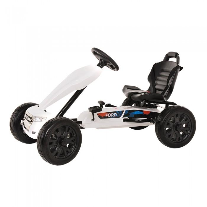 Ford Педальный Картинг DakeПедальные машины<br>Ford Педальный Картинг Dake — отличный способ занять ребенка и с пользой провести досуг. Картинг развивает координацию движений, реакцию, мышцы ножек.  Особенности: Производитель: Pinghu Dake Baby Carrier Co., LTD Максимальная нагрузка: 30 кг Тормоз: рычаг Характеристики: Высокопрочный пластик Удобное сидение, которое может регулироваться по расстоянию от руля Педальное управление Ручной тормоз Ездит вперед и назад Колесa EVA Трехточечный ремень безопасности Возраст — 3–8 лет Размер: 113*66*68 см Вес: 14,3 кг