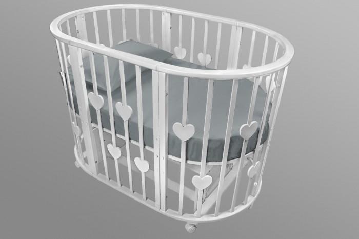 Купить Кроватки-трансформеры, Кроватка-трансформер Forest круглая Lavatera Hearts 6 в 1 (маятник поперечный)
