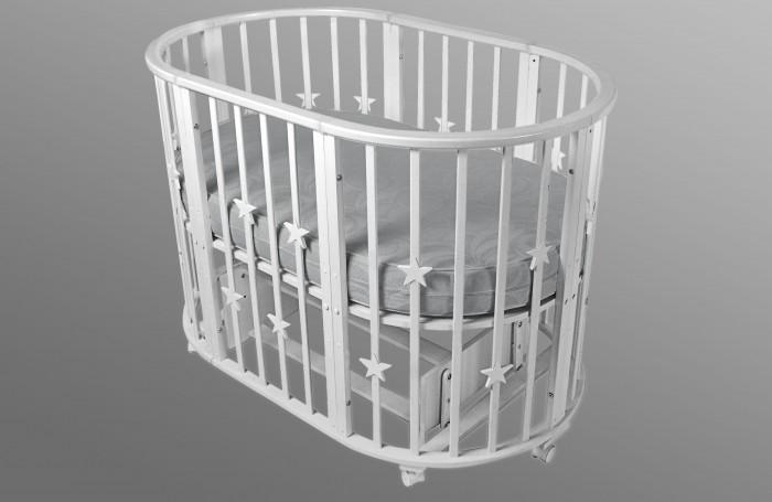 Купить Кроватки-трансформеры, Кроватка-трансформер Forest круглая Lavatera Stars 6 в 1 (маятник поперечный)