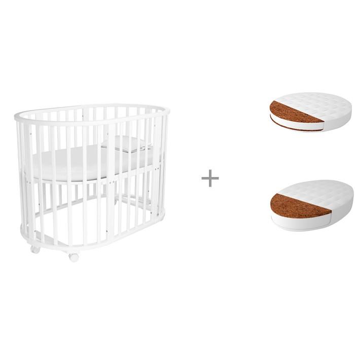 Кроватки-трансформеры Forest Lavatera 6 в 1 (колесо) с матрасами круглым Малышок Комфорт и овальным Дрема Софт Дрим