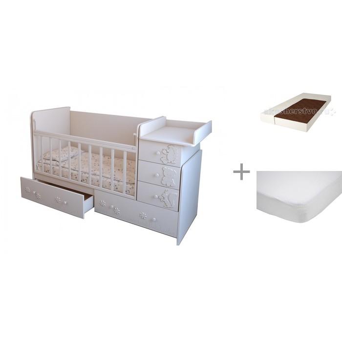 Кроватки-трансформеры Forest Лесная сказка с матрасом и наматрасником