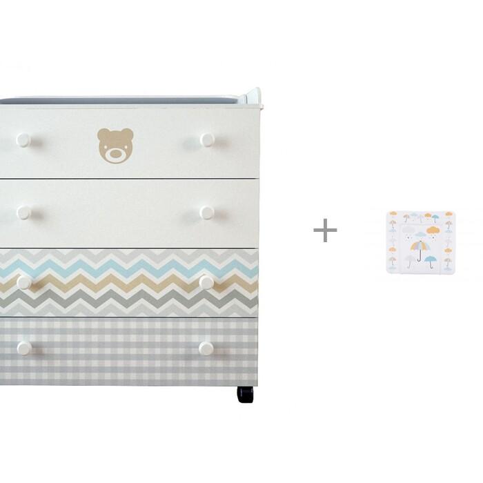 Картинка для Комод Forest Little Bear пеленальный с накладкой для пеленания