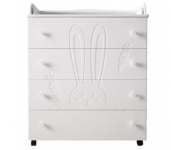 Комод Forest Little Rabbit пеленальныйLittle Rabbit пеленальныйПеленальный комод Forest Little Rabbit с откидной пеленальной доской и 4-мя вместительными выдвижными ящиками прекрасно подойдет для интерьер Вашего малыша.   Особенности:  4 вместительных ящиков на роликовых направляющих  Откидная пеленальная доска образует удобный столик Материал ящиков (дно) ХДФ ламинированная материалы из которого изготовлен комод – ДСП, МДФ (фасады) мягкая кромка в пеленальной части (см.дополнительное фото) 4 колеса   2 колеса оснащены тормозной системой безопасности Отсутствие острых углов   Размеры:  Внешние размеры: 84х43х105 см. Вес: 40 кг  Размер пеленального столика: 74х61 Размер упаковки: 85х45х25 см  Комод изготовлен из экологичных и безопасных материалов высокого качества: МДФ- современный прочный материал, который не уступает сосновой древесине по механическим свойствам. По своим свойствам плита МДФ обладает прочностью и влагостойкостью. Благодаря своей плотности и структуре плита МДФ является отличным материалом для производства мебели.<br>