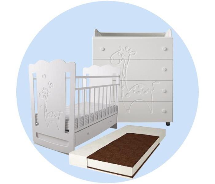 Картинка для Детская кроватка Forest Lovely Giraffe Electric swing с комодом и матрасом
