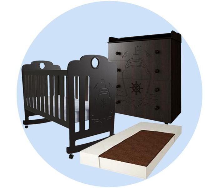 Картинка для Детская кроватка Forest Морячок качалка с комодом и матрасом