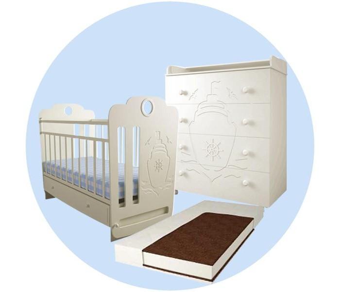 Картинка для Детская кроватка Forest Морячок маятник поперечный с комодом и матрасом