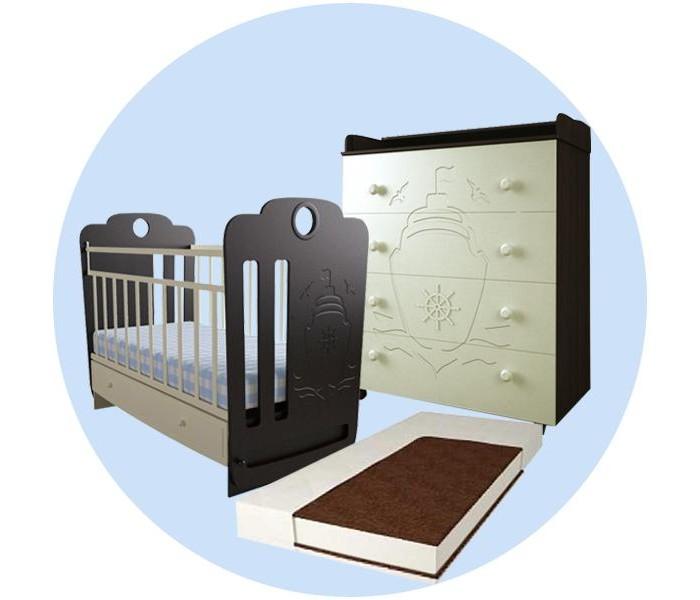 Детская кроватка Forest Морячок маятник поперечный с комодом и матрасом