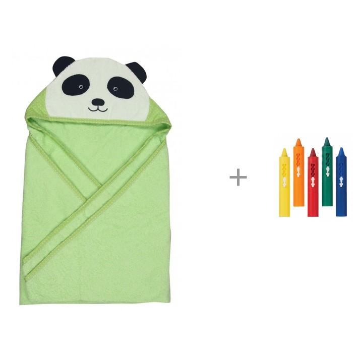 Полотенца Forest kids Полотенце с капюшоном Панда 100х100 см и Игрушка для ванны Munchkin Карандаши