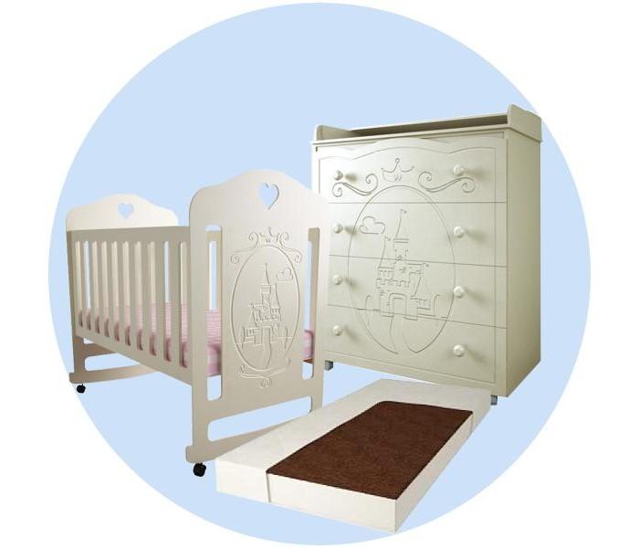 Детские кроватки Forest Принцесса качалка с комодом и матрасом