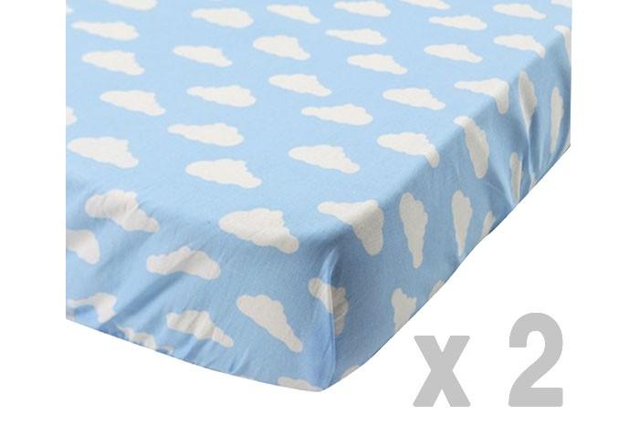 Forest Простынь на резинке Clouds для кроватки 120х60