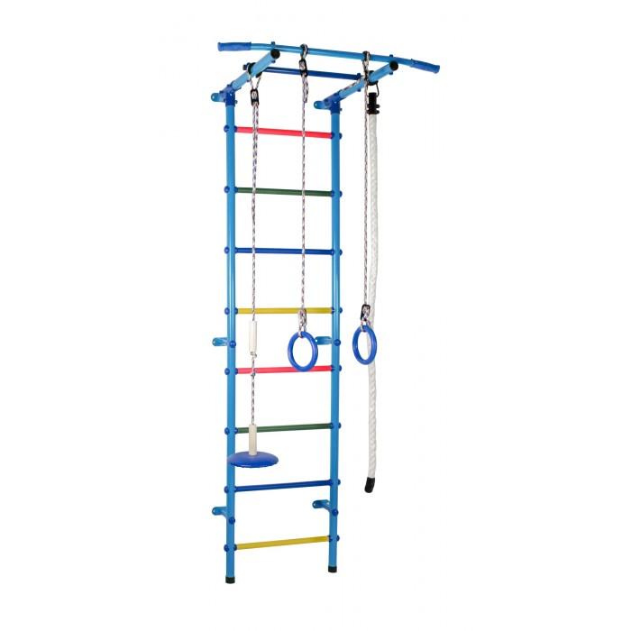Формула Здоровья Start 1Шведские стенки<br>Формула здоровья Детский спортивный комплекс Start 1 - это не только  гимнастический снаряд, служащий для проведения тренировок, но и увлекательный тренажёр, заниматься на котором могут все члены семьи.   Основным элементом шведской стенки является конструкция для лазания, состоящая из вертикальных стоек с поперечными перекладинами. Благодаря универсальной конструкции её можно дополнять  кольцами, канатом и турником, брусьями.    Физические нагрузки так же важны для гармоничного развития малыша, как и умственные.  Физическая активность не только укрепляет здоровье, но и положительно влияет на память. Двигательная активность усиливает кровообращение, а значит и лучше питается мозг. Не только для мозга, но и для сердца, спортивные занятия очень полезны,  ведь сердце – тоже мышца, и ей нужны тренировки. Когда оно сильное, то кровь лучше циркулирует по организму. А именно она доставляет до жизненно-важных органов витамины и другие полезные вещества. Ну и конечно же укрепляются все мышцы растущего детского организма. Заботливым родителям необходимо  предусмотреть место в квартире для установки ДСК.   О ДСК Start 1: Способ установки: к стене Материал: металл Высота: 2,17 м  Ширина комплекса: 0,53 м  Занимаемая площадь: 0,63 х 0,90 м  Ширина турника: 0,90 м Тип турника: стационарный Вынос турника: 0,63 м  Диаметр трубы: 38 мм Толщина металла: 2 мм Диаметр ступени: 0,02 м+пвх Шаг ступени: 0,23 м Тип ступени: металл с ПВХ покрытием  Расстояние от стены:  0,15 м Допустимая нагрузка: 100 кг Вес комплекса: 21,7 кг  Упаковка: картонная коробка Размеры упаковки (ДхШхВ): 1 место 1,15 х 0,25 х 0,10 м